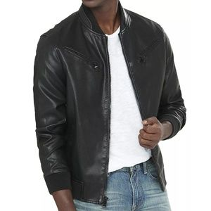 Men's Express Faux Leather Bomber Jacket